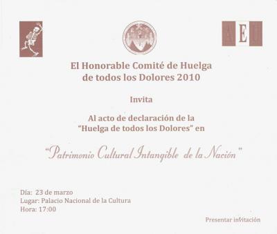 """La """"Huelga de Dolores"""" Patrimonio Cultural intangible de la Nación"""